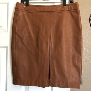 Tan Faux Leather Front Pleated Skirt